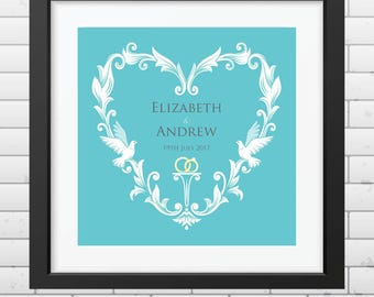 Personalised Wedding Heart Print - Bespoke Wedding Gift