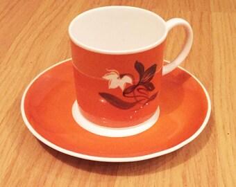 Vibrant orange Susie Cooper vintage 1930s demitasse cup & saucer