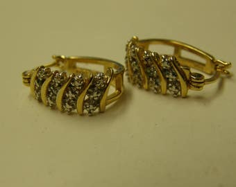 Costume Gold Plated Diamond Earring Set