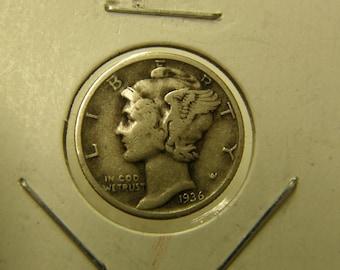 USA 1936 Silver Mercury Dime