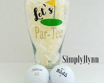 """Personalized, pilsner beer glass, """"Let's Par-Tee"""", funny, golfer"""
