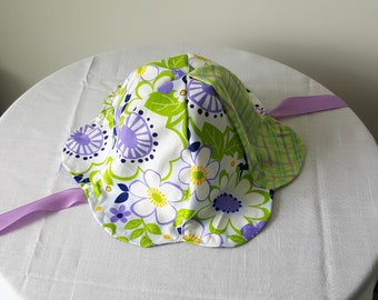Reversible Purple and Green Baby Sun Hat