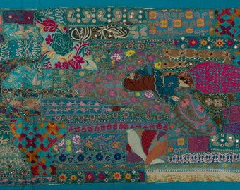 Patchwork Hanging, Tablecloth or Carpet, 130 cm x 70 cm, Blue, Green, Pink, Leaves and Flowers