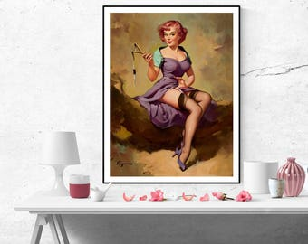 Gil Elvgren Pin up Red Haired Girl with Slingshot Vintage Art Poster Print Canvas Wall Art Retro pinup poster size A2/A3/A4