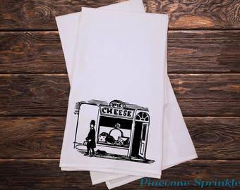 Tea Towel - Kitchen Towels - Screen Printed Flour Sack Towel - Tea Towel Flour Sack - Dish Towels - Cheese Shop