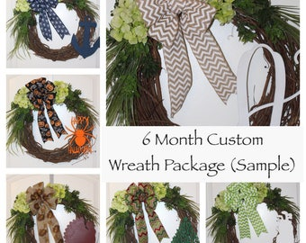 6 Month Custom Wreath Package - Front Door Wreath, Everyday Wreath, Wood Monogram, 5 Themes