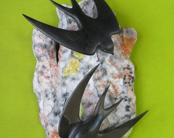 Bird Sculptures couple of swifts black + support wooden rock painted wood