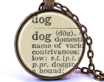 Dog Dictionary Pendant Necklace