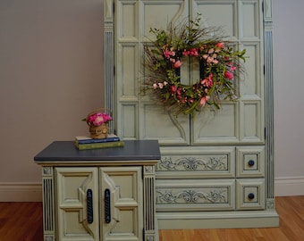 SOLD Mint and Blue Armoire and Bedside Table