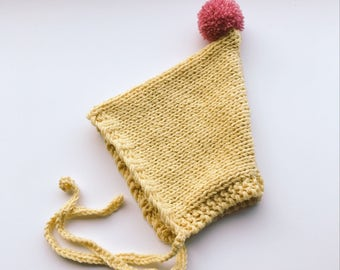 Baby pixie hat - summer sun bonnet - handmade knitted hat - kids pom pom - newborn bonnet - newborn photo prop - baby shower gift