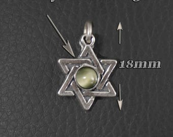 Star of David Merkaba Antique style Cats Eye Crisobril 3mm Luck and success