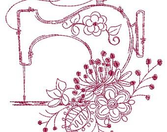 Vintage Sewing Machine Redwork - Machine Embroidery Design