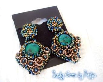 Chrysocolla earrings  post earrings - beaded earrings - beadwork earrings - bead embroidery earrings - gift for her