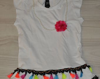 Dress made by hand with elegant necklace of fringes and modern-NEW-boho chic borlas-nina chic for girl-fashion kids