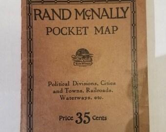 1923 Rand McNally Pocket World Map Aviation Ad