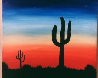 Sunset Cactus Painting