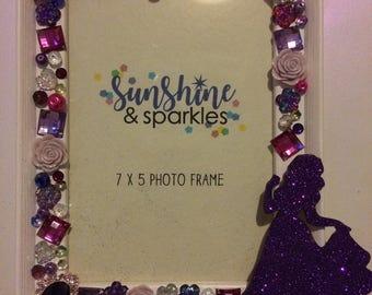 Disney Princess, Snow White, Glitter, Sparkly, Hearts, Flowers, Stars, Gem, Crystal Embellished Photo Frame - Girls Birthday Present