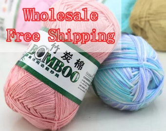 Wholesale 5Balls/Lot Bamboo Cotton Thread Bamboo Yarn Crochet Yarn Baby Knit Hand Knitting Yarn | Mix Color Available | Free Shipping
