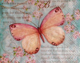 4 Paper Napkins for Decoupage Scrapbooking Craft Butterfly 079