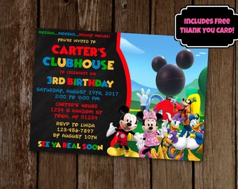 Mickey Mouse Clubhouse Invitation, Mickey Mouse Birthday Invitation, Mickey's Clubhouse, Printable Invitation