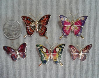 Butterfly Brooches Set of Five