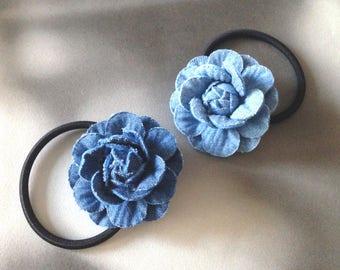 Denim hair elastics Chanel inspired hair ties for bridesmaids