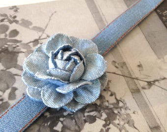 Chanel inspired Choker necklace, chanel-inspired camellia washed jeans choker, light blue denim choker, brooch, complimentary gift box