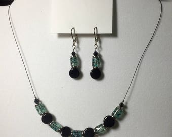 Light blue & black onyx dangle earrings and necklace set, handmade