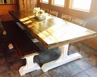 Solid Wood Rustic Custom Farmhouse Trestle Dining Table