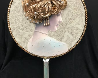 Hand Held  Mirror, Victorian Woman, Vintage Jewelry Tone , Jewelry Art