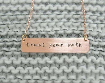 Personalized hand-stamped copper bar necklace