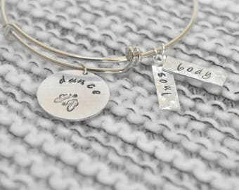 Personalized hand-stamped bangle charm bracelet