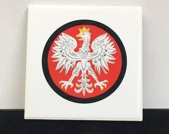 Red Polish Falcon Ceramic Tile Coaster (set of 4)