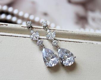 Set of 3, 4, 5 Bridesmaid Earrings, Art Deco Earrings , Vintage Style Crystal Earrings, Bridal Earrings,Crystal  Drop   Wedding Earrings