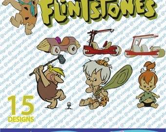 The Flintstones kit of 15 Embroidery Designs Sewing Patterns Kit Brother pes dst hus jef emb with Resizer Converter Software Included