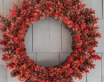 Pinecone Wreath Red / Home Decor / Front Door Wreath