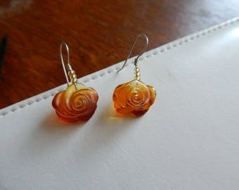 Amber earrings roses handmade with  silver