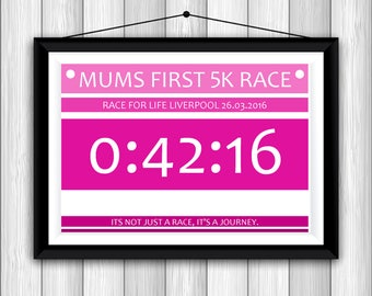 Personalised Runner Print Gift My First 5k Mums Mum Dad Dads My First Run Race Personalized A4