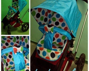 Hood and cover foot pocket, canopy blue peas ,Sun Canopy Bugaboo Frog, Cameleon Stroller / waterproof nylon