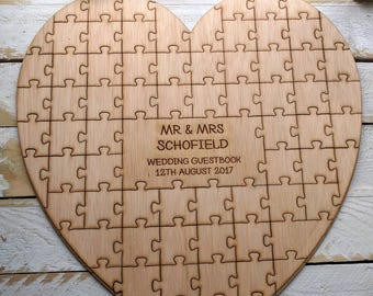 Personalised Bespoke Guest Book Wooden Jigsaw Puzzle