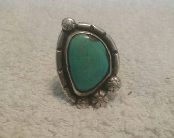 Vintage Sterling Silver, Turquoise Navajo Ring