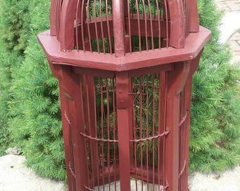 Antique wood birdcage