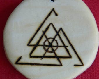 "Wooden Rune-bind amulet talisman ""Protection archangel Rafail's feather"" pyrography hand made Asatru Wicca Pagan elder FUTHARK"