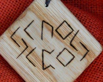 """Wooden Rune-bind amulet talisman """"Healing runes"""" pyrography hand made Asatru Wicca Pagan elder FUTHARK"""