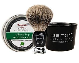 Parker Taconic Shave Black Mug, Shave Brush and Shave Soap Set