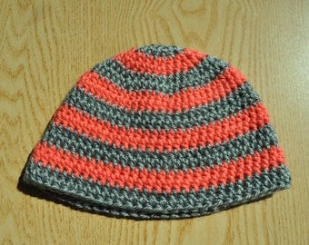 Coral and Gray Baby Hat/ Crochet Baby Hat/ Pink and Gray Baby Hat/ Baby Girl Hat