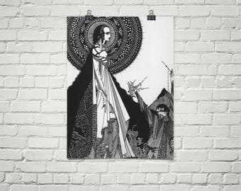 Harry Clarke Illustration for E. A. Poe. Premium Semi-Gloss Photo Paper Poster