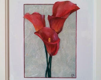 Framed Calla Lillies Mixed media picture