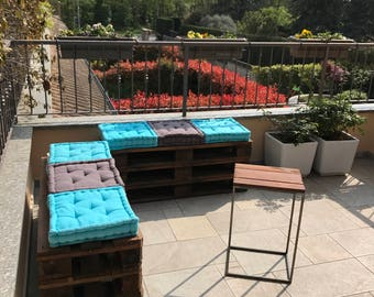 Outdoor sofas with pallet and table (pillows not included)