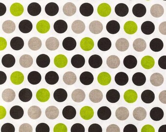Cotton fabric, fabric by the yard, sewing fabric, quilting fabric, dot fabric, nursery fabric, summer fabric, apparel fabric, green black